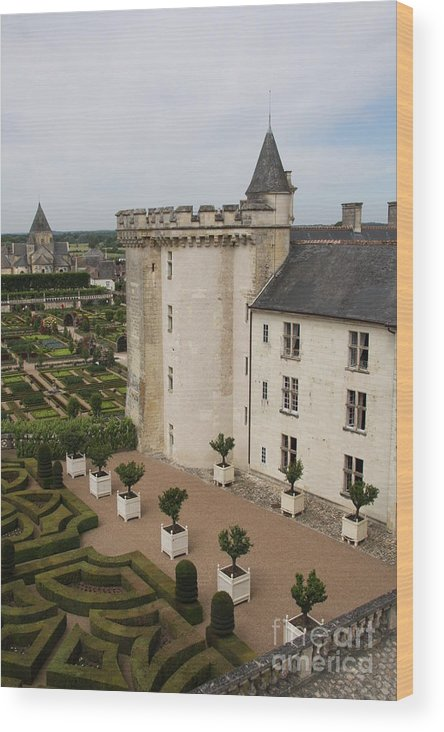 Palace Wood Print featuring the photograph Chateau And Garden - Villandry by Christiane Schulze Art And Photography