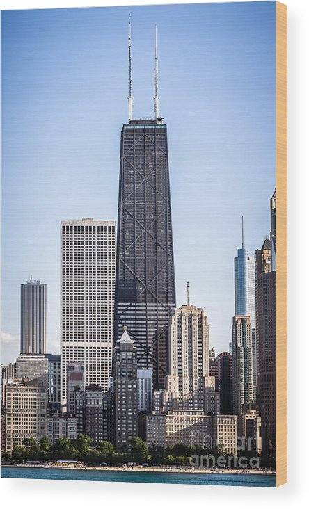 America Wood Print featuring the photograph Chicago At Night With John Hancock Building by Paul Velgos