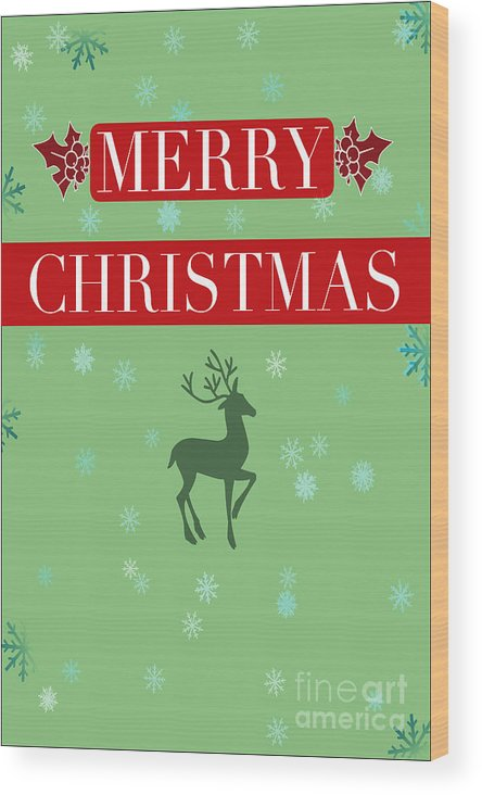 Kris Graves Photography Wood Print featuring the photograph Christmas Reindeer Greeting Card by K D Graves