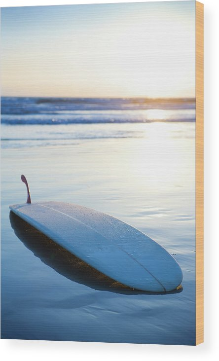 Autumn Wood Print featuring the photograph Classic Single-fin Long Board Surfboard by Ty Milford