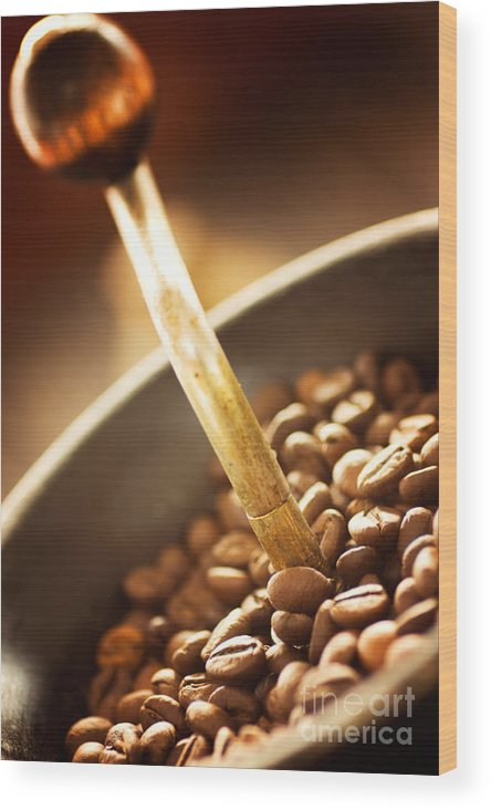 Aroma Wood Print featuring the photograph Coffe Beans In The Grinder by Mythja Photography