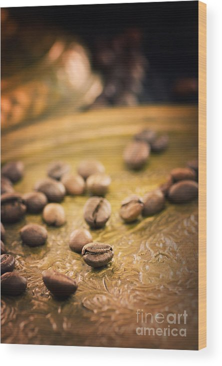Antique Wood Print featuring the photograph Coffe Beans by Mythja Photography