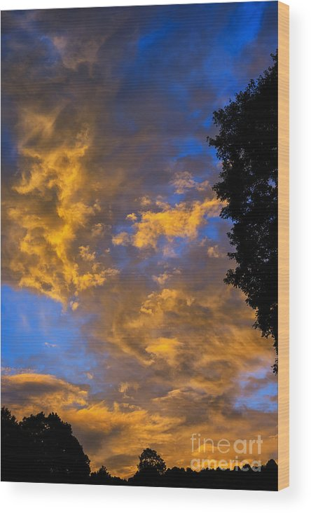 Sunrise Wood Print featuring the photograph Colorful Western Sky At Sunrise by Thomas R Fletcher