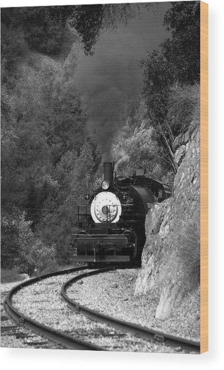 Steam Locomotive Wood Print featuring the photograph Coming Round The Mountain by Michael Courtney