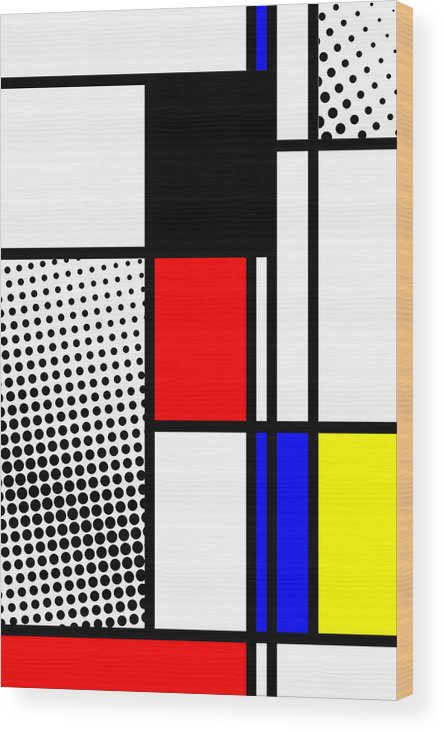 Mondrian Wood Print featuring the mixed media Composition 100 by Dominic Piperata