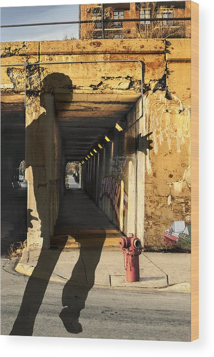 Urban Wood Print featuring the photograph Confidence Leap by Nancy Strahinic