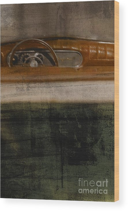Convertible; Steering Wheel; Old; Leather; Car; Vintage; Auto; Automobile; Detail; Green; Red; Tan; Blurred; Defocused; Vehicle; Antique; Transportation; Parked; Studebaker; Window; Dashboard Wood Print featuring the photograph Convertible by Margie Hurwich