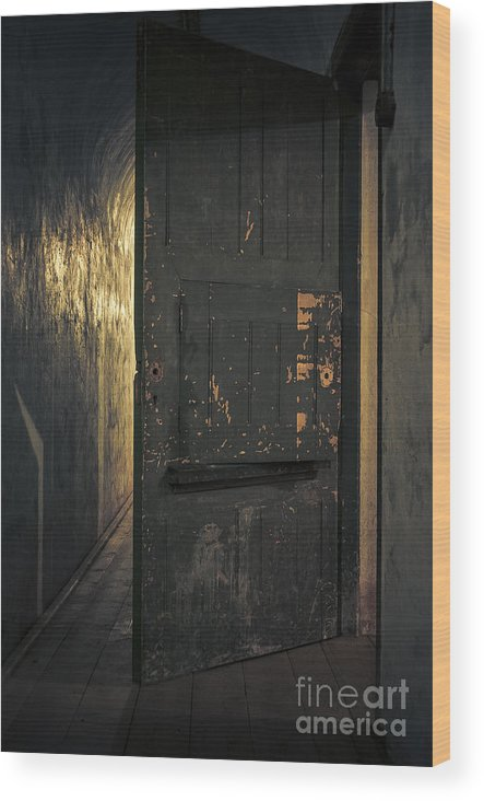 Criminal Wood Print featuring the photograph Creepy Door by Svetlana Sewell