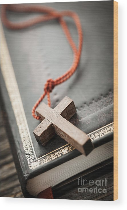 Cross Wood Print featuring the photograph Cross On Bible by Elena Elisseeva