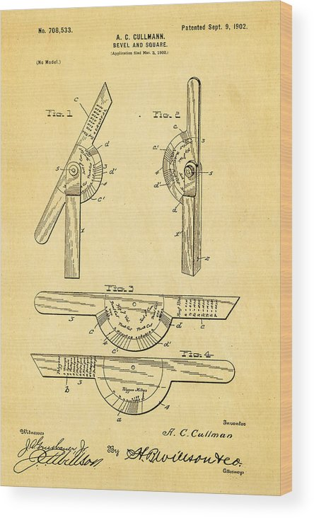 Men Wood Print featuring the photograph Cullmann Bevel And Square Patent Art 1902 by Ian Monk