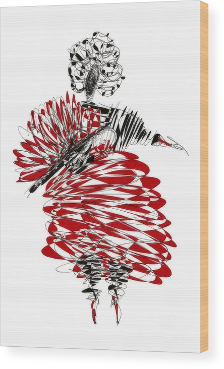 Drawing Wood Print featuring the drawing Dancer by Justyna JBJart