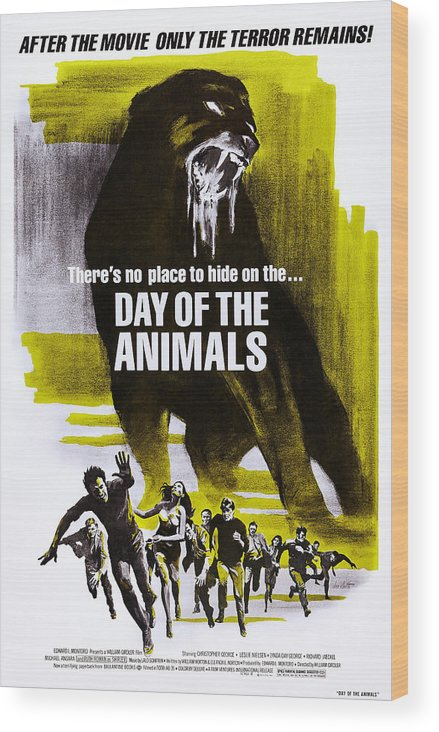 1970s Poster Art Wood Print featuring the photograph Day Of The Animals. Aka Something Out by Everett