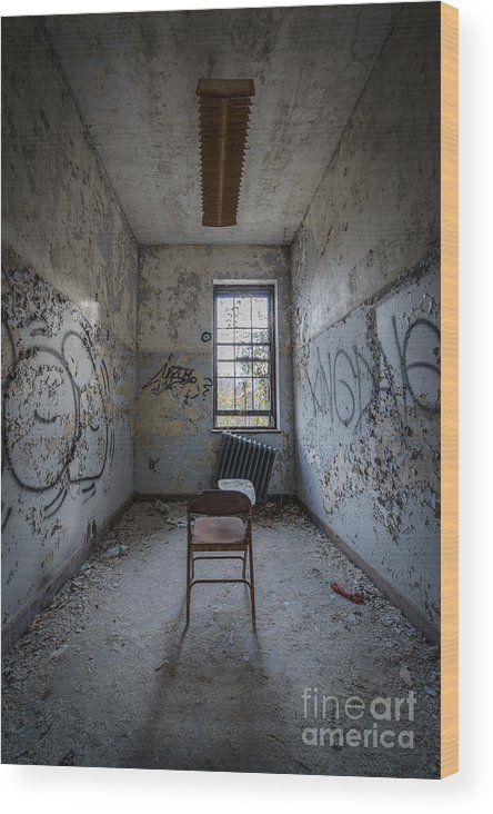 Urbex Wood Print featuring the photograph Detention Room by Michael Ver Sprill