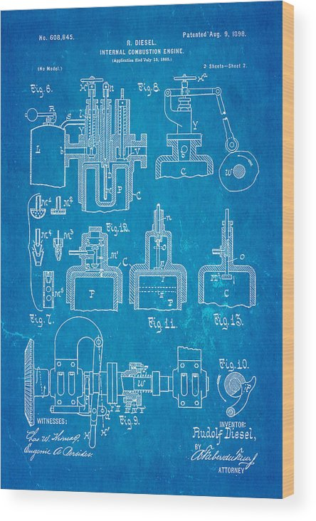 Automotive Wood Print featuring the photograph Diesel Internal Combustion Engine Patent Art 1898 Blueprint by Ian Monk