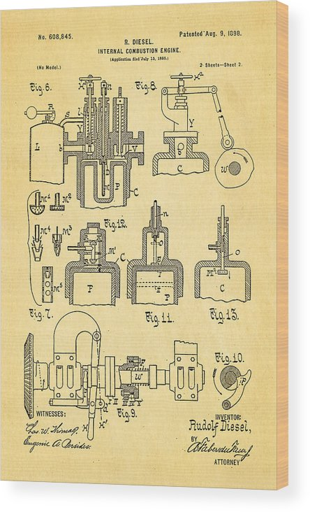 Automotive Wood Print featuring the photograph Diesel Internal Combustion Engine Patent Art 1898 by Ian Monk