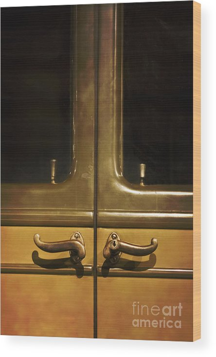 Old; Car; Vintage; Auto; Automobile; Detail; Yellow; Vehicle; Antique; Transportation; Parked; Studebaker; Window; Door; Latch; Split Wood Print featuring the photograph Door Handles by Margie Hurwich