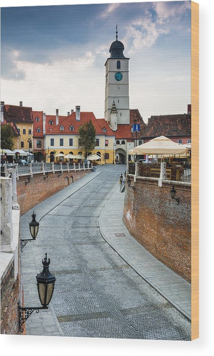 Lesser Square Wood Print featuring the photograph Downtown Of Sibiu Transylvania by George Cristea