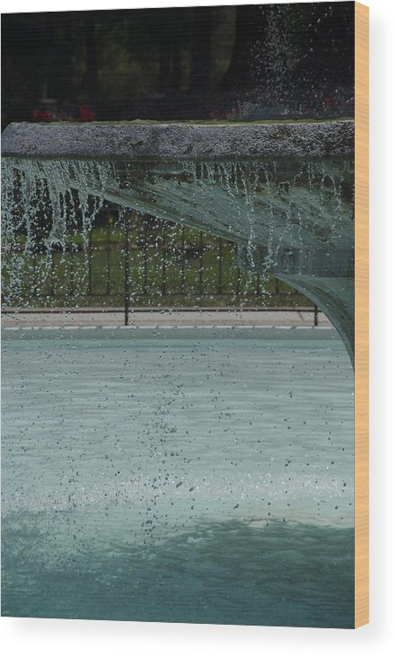 Water Wood Print featuring the photograph Drops In The Fountain by Joie Cameron-Brown