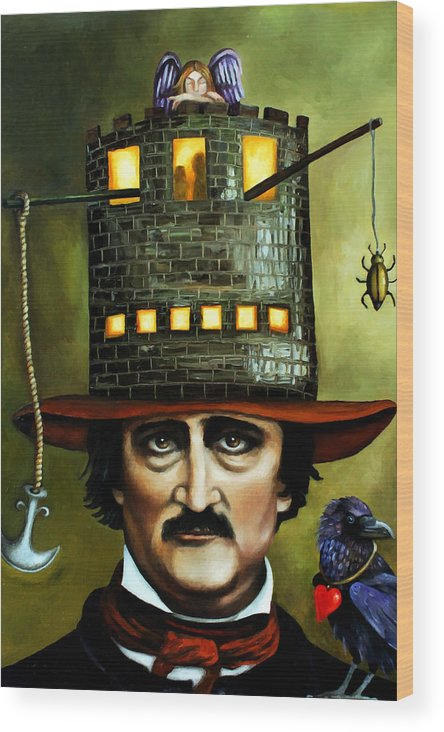 Poe Wood Print featuring the painting Edgar Allan Poe Edit 1 by Leah Saulnier The Painting Maniac