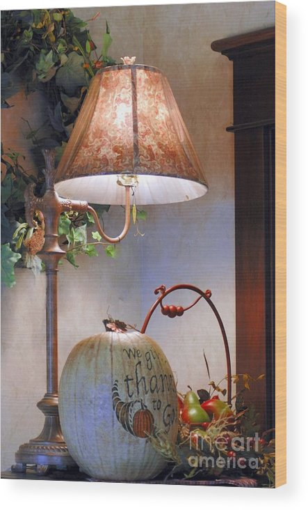 #table #lamp #pumpkin #dried Wood Print featuring the photograph Fall Still Life by Kathleen Struckle