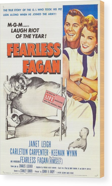 1950s Poster Art Wood Print featuring the photograph Fearless Fagan, Us Poster, Right by Everett