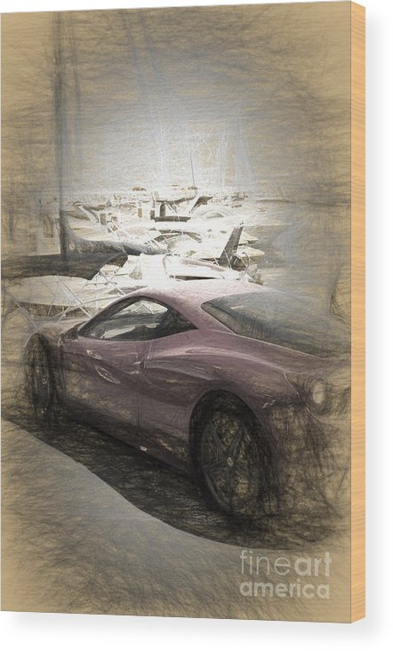 Ferrari Wood Print featuring the digital art Ferrari 458 Italia by Perry Van Munster
