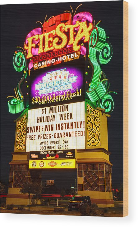Fiesta Casino Sign Wood Print featuring the photograph Fiesta by James Marvin Phelps