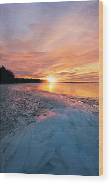 Sun Wood Print featuring the photograph Fire And Ice by Christian Lindsten
