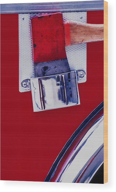 Fire Engine Wood Print featuring the photograph Fire Engine Red And Chrome by Gary Slawsky