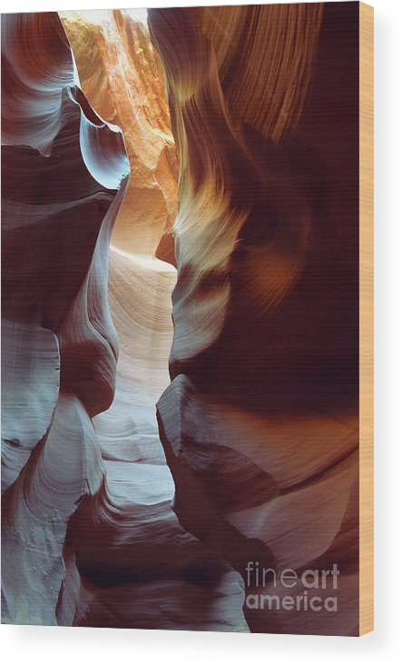 Slot Canyon Wood Print featuring the photograph Follow The Light II by Kathy McClure