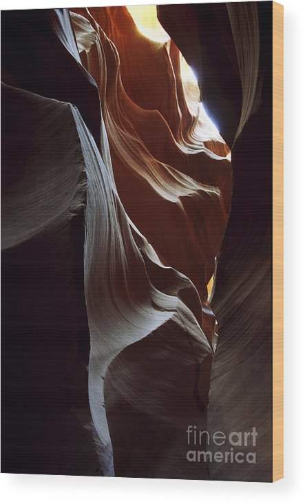 Antelope Canyon Wood Print featuring the photograph Follow The Light by Kathy McClure