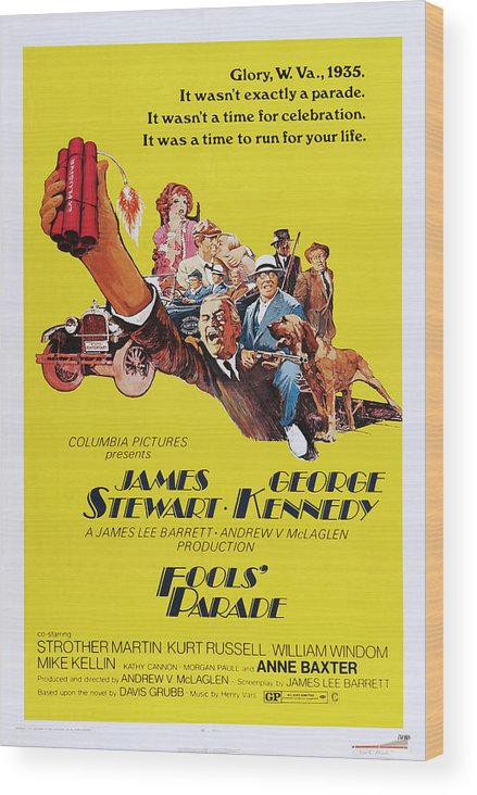 1970s Poster Art Wood Print featuring the photograph Fools Parade, Bottom L-r James Stewart by Everett
