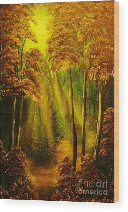 Sunbeam Wood Print featuring the painting Forest Sunrays- Original Sold -buy Giclee Print Nr 38 Of Limited Edition Of 40 Prints by Eddie Michael Beck