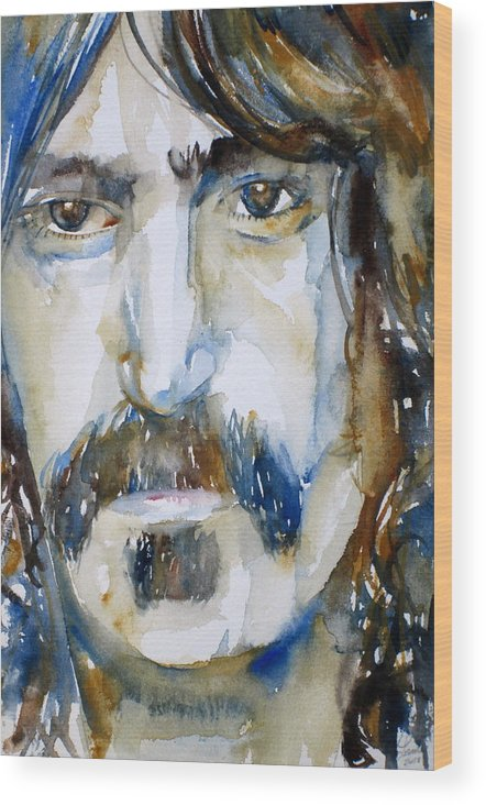 Frank Wood Print featuring the painting Frank Zappa Watercolor Portrait.2 by Fabrizio Cassetta