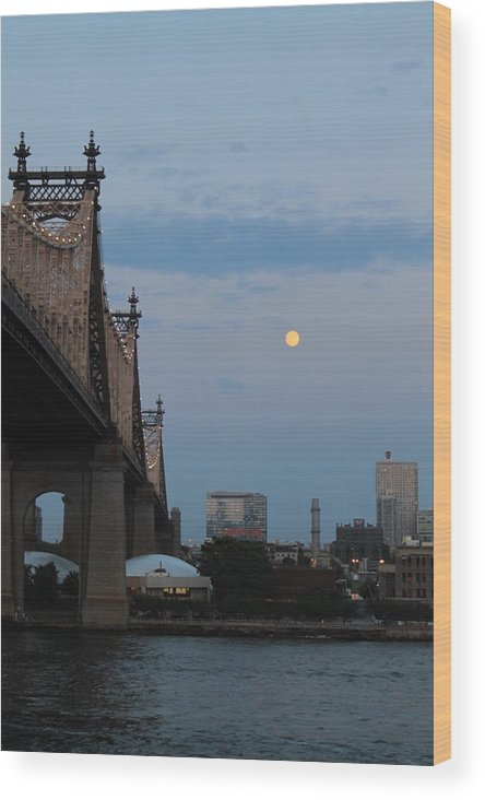 Queensboro Bridge Wood Print featuring the photograph Full Moon In Queens by Catie Canetti