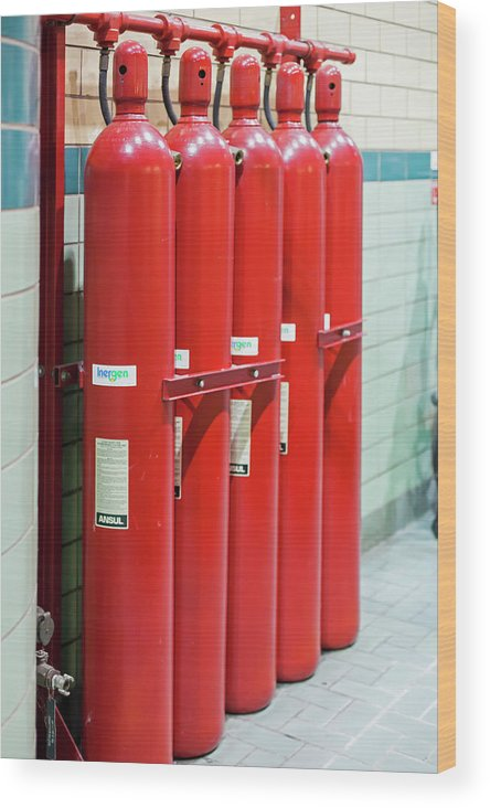 2016 Wood Print featuring the photograph Gaseous Fire Suppression Cylinders by Jim West