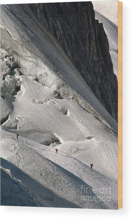 Alpinists Wood Print featuring the photograph Glacier Du Geant, French Alps by Duncan Shaw