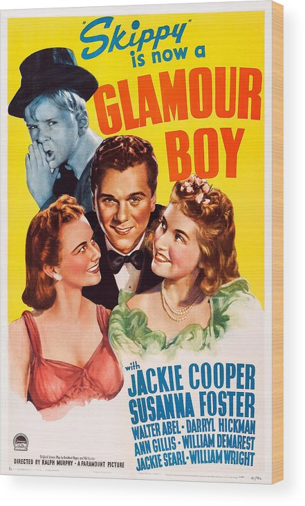 1940s Movies Wood Print featuring the photograph Glamour Boy, Top Jackie Cooper, Bottom by Everett
