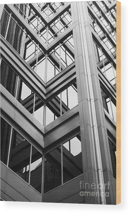 Architecture; Building; Facade; Side; Windows; Glass; Steel; Girders; Highrise; Skyscraper; City; Urban; Tall; High; Office; Condo; Apartments; Corner Wood Print featuring the photograph Glass And Steel by Margie Hurwich