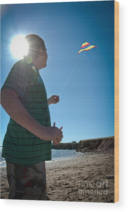 Summer Vacation Wood Print featuring the photograph Go Fly A Kite by Cheryl Baxter