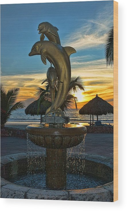 Statue Wood Print featuring the photograph Golden Dolphins by Lanis Rossi