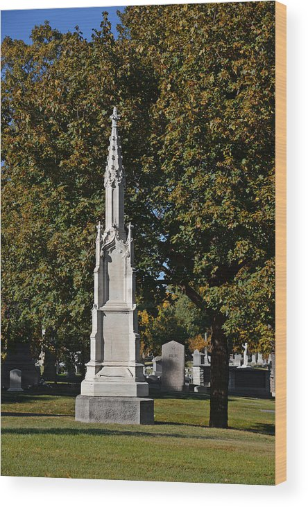 Graveyard Wood Print featuring the photograph Graceland Cemetery - Garden Of The Dead by Christine Till