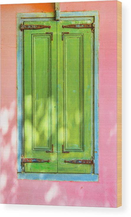St. Augustine Wood Print featuring the photograph Green Shutters Pink Stucco Wall 2 by Rich Franco