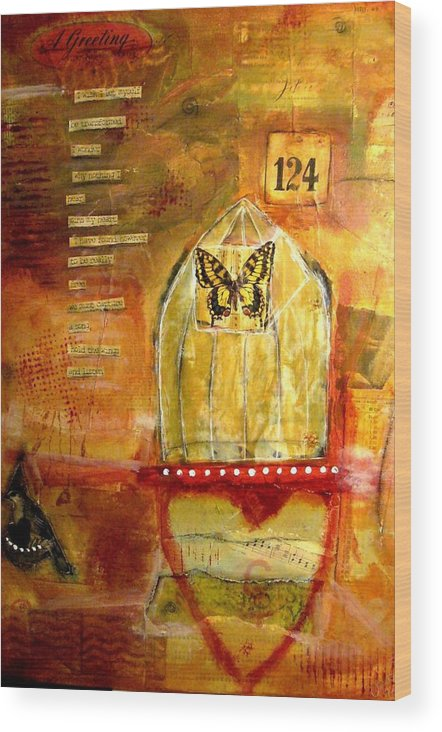 Mixed Wood Print featuring the mixed media Greeting by Carrie Todd