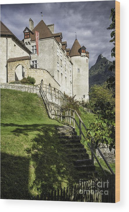 Leysin Wood Print featuring the photograph Gruyeres Castle by Timothy Hacker
