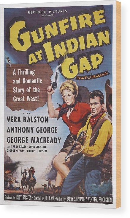 1950s Poster Art Wood Print featuring the photograph Gunfire At Indian Gap, L-r Vera by Everett