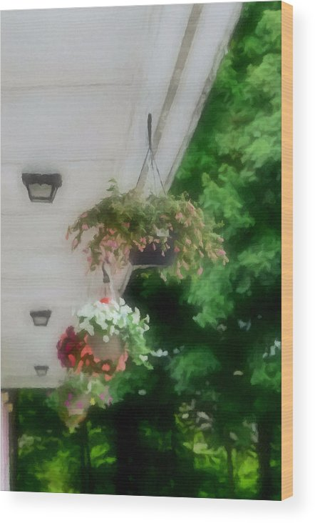 Agricultural Wood Print featuring the painting Hanging Flower Baskets On A Porch by Jeelan Clark