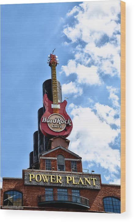 Hard Wood Print featuring the photograph Hard Rock Cafe - Baltimore by Bill Cannon