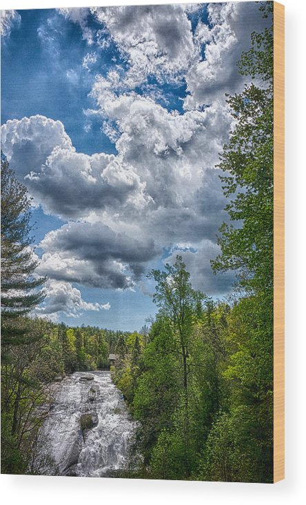 Falls Wood Print featuring the photograph High Falls Bright Clouds by Scott Koegler