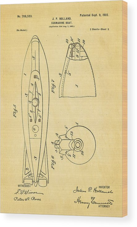 Engineer Wood Print featuring the photograph Holland Submarine Patent Art 2 1902 by Ian Monk